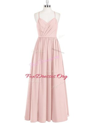 Wonderful Pink Empire Ruching Evening Wear Criss Cross Chiffon Sleeveless Floor Length