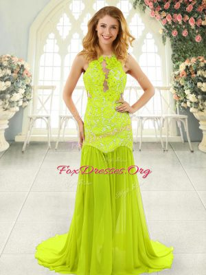 Latest Sleeveless Chiffon With Brush Train Backless Prom Evening Gown in Yellow Green with Lace