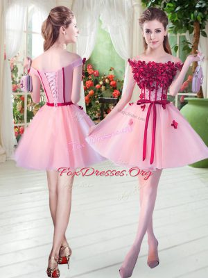 Popular Pink A-line Tulle Off The Shoulder Sleeveless Beading and Appliques Mini Length Lace Up Prom Dresses