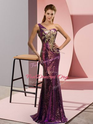 Hot Selling Sleeveless Brush Train Lace Up Beading and Appliques Evening Dress