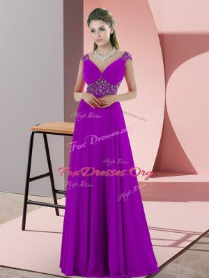 Pretty Backless Prom Gown Purple for Prom and Party with Beading Sweep Train