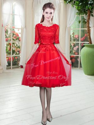 Scoop Half Sleeves Prom Gown Knee Length Lace Red Tulle