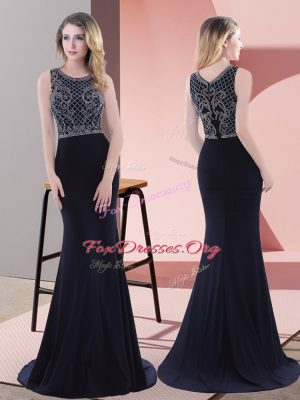 Glittering Sleeveless Sweep Train Zipper Beading and Lace Evening Wear