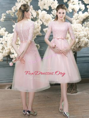 Great Pink Zipper Prom Gown Lace Half Sleeves Tea Length
