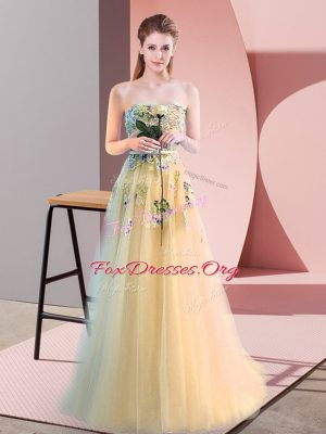 Light Yellow Sleeveless Tulle Lace Up Prom Party Dress for Prom and Party