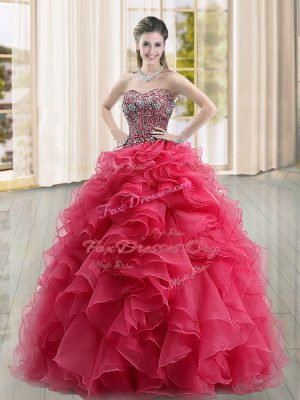 Artistic Organza Sleeveless Floor Length Ball Gown Prom Dress and Beading and Ruffles