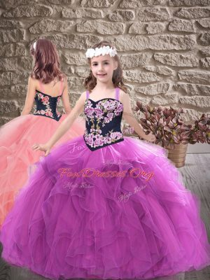 Top Selling Purple Ball Gowns Straps Sleeveless Tulle Floor Length Lace Up Embroidery and Ruffles Kids Formal Wear