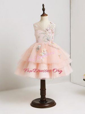 Pink Tulle Zipper Toddler Flower Girl Dress Sleeveless Mini Length Appliques