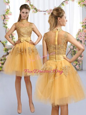 High Class Knee Length Zipper Dama Dress for Quinceanera Gold for Prom and Party and Wedding Party with Lace and Bowknot