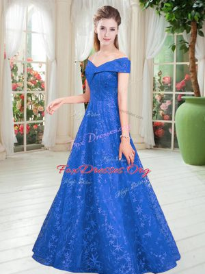 Beauteous Blue Lace Lace Up Off The Shoulder Sleeveless Floor Length Evening Wear Beading
