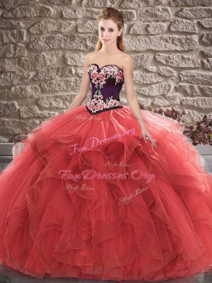 Red Sleeveless Tulle Lace Up Quinceanera Dress for Sweet 16 and Quinceanera