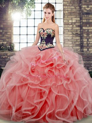 Fancy Sleeveless Embroidery and Ruffles Lace Up Quinceanera Dress with Watermelon Red Sweep Train