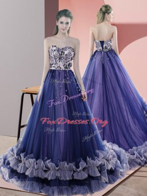 Luxury Blue Sleeveless Tulle Sweep Train Lace Up Dress for Prom for Prom and Party and Military Ball