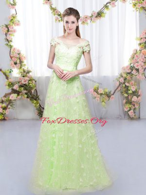 Popular Cap Sleeves Tulle Floor Length Lace Up Vestidos de Damas in Yellow Green with Appliques
