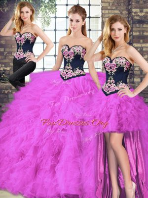 Attractive Fuchsia Sweetheart Lace Up Beading and Embroidery Vestidos de Quinceanera Sleeveless