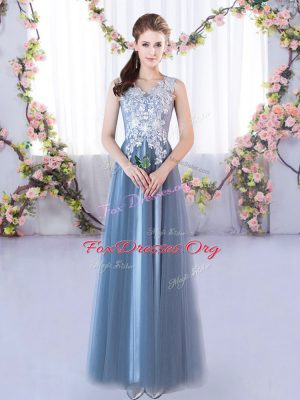 Pretty Lace Dama Dress for Quinceanera Blue Lace Up Sleeveless Floor Length