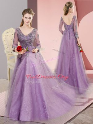 Lavender Dress for Prom Tulle Sweep Train Long Sleeves Beading and Appliques