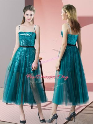 Affordable Tulle Spaghetti Straps Sleeveless Zipper Sequins Prom Dress in Teal