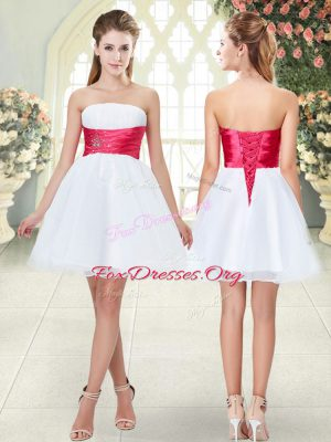 Wonderful A-line Prom Dress White Strapless Organza Sleeveless Mini Length Lace Up