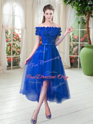 Tulle Short Sleeves High Low Dress for Prom and Appliques
