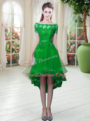 Vintage High Low Green Prom Gown Off The Shoulder Short Sleeves Lace Up