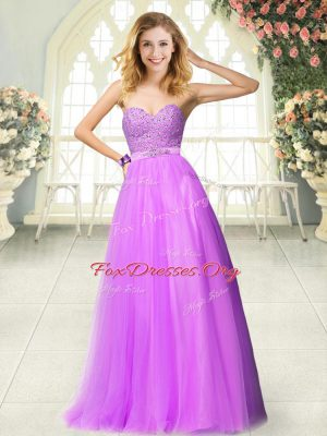 Smart Lilac Sleeveless Tulle Zipper for Prom and Party