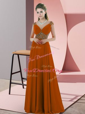 Glamorous Orange Prom Evening Gown Prom and Party with Beading V-neck Sleeveless Backless
