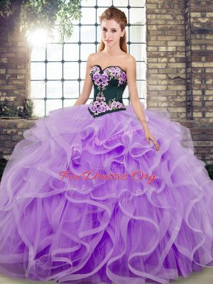 Designer Ball Gowns Sleeveless Lavender Quinceanera Gown Sweep Train Lace Up