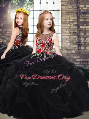 Black Tulle Zipper Scoop Sleeveless Kids Formal Wear Sweep Train Embroidery and Ruffles