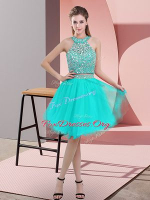 Turquoise Organza Backless Evening Dress Sleeveless Knee Length Beading
