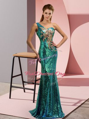 Pretty Green Sleeveless Sequined Sweep Train Lace Up Homecoming Dress for Prom and Party and Military Ball