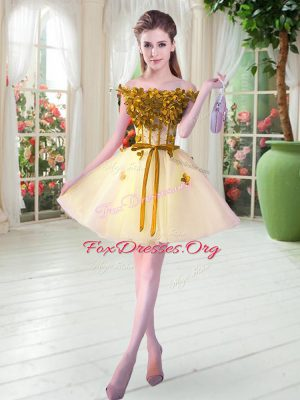 Dramatic Yellow Lace Up Off The Shoulder Beading and Appliques Prom Dress Tulle Sleeveless