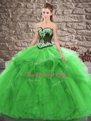 Custom Made Tulle Sleeveless Floor Length Quinceanera Gowns and Beading and Embroidery