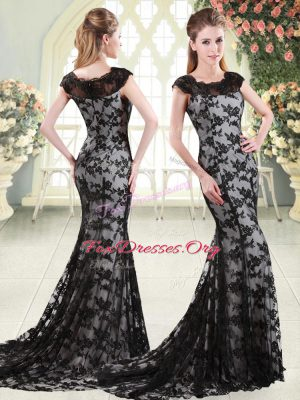 Shining Sleeveless Lace Sweep Train Zipper Prom Dresses in Black with Appliques