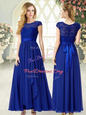 Romantic Scoop Cap Sleeves Dress for Prom Ankle Length Lace Royal Blue Chiffon