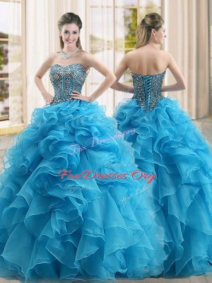 Perfect Organza Sweetheart Sleeveless Lace Up Beading and Ruffles Quinceanera Gown in Baby Blue