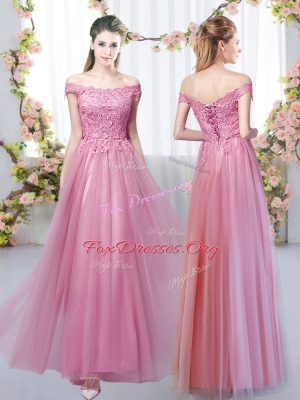 Super Floor Length Pink Bridesmaids Dress Tulle Sleeveless Lace