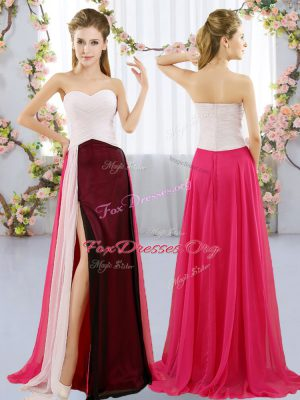 Captivating Multi-color Empire Chiffon Sweetheart Sleeveless Ruching Floor Length Zipper Wedding Guest Dresses
