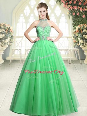 High End Green Halter Top Neckline Beading Prom Dresses Sleeveless Zipper