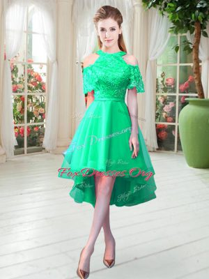 High Low Turquoise Homecoming Dress High-neck Short Sleeves Zipper