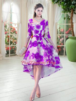 White And Purple A-line Lace Scoop Half Sleeves Belt High Low Lace Up Dress for Prom