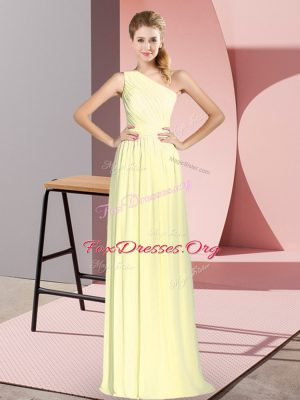 Yellow Empire One Shoulder Sleeveless Chiffon Floor Length Lace Up Ruching Prom Dresses