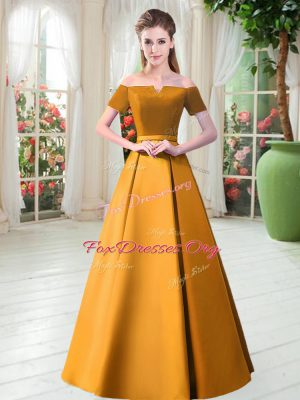 Gold A-line Belt Prom Evening Gown Lace Up Satin Short Sleeves Floor Length