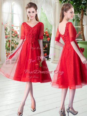 Red Lace Up Prom Evening Gown Beading and Appliques Half Sleeves Knee Length