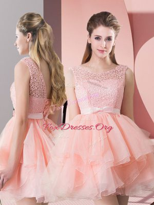 Stunning Lace Up Evening Dress Pink for Prom and Party with Lace
