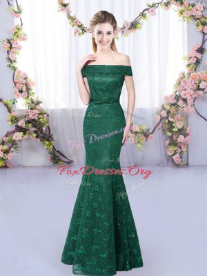 Eye-catching Sleeveless Floor Length Lace Up Bridesmaids Dress in Dark Green with Lace