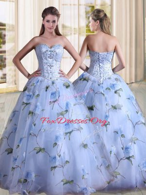 Flirting Sleeveless Lace Up Floor Length Beading 15th Birthday Dress
