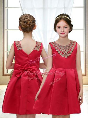 Mini Length Red Flower Girl Dresses for Less Satin Sleeveless Appliques