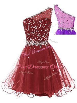 Wine Red Sleeveless Beading Mini Length Homecoming Dress