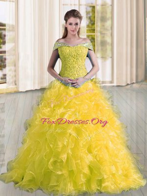 Cute Off The Shoulder Sleeveless Organza Vestidos de Quinceanera Beading and Lace and Ruffles Sweep Train Lace Up
